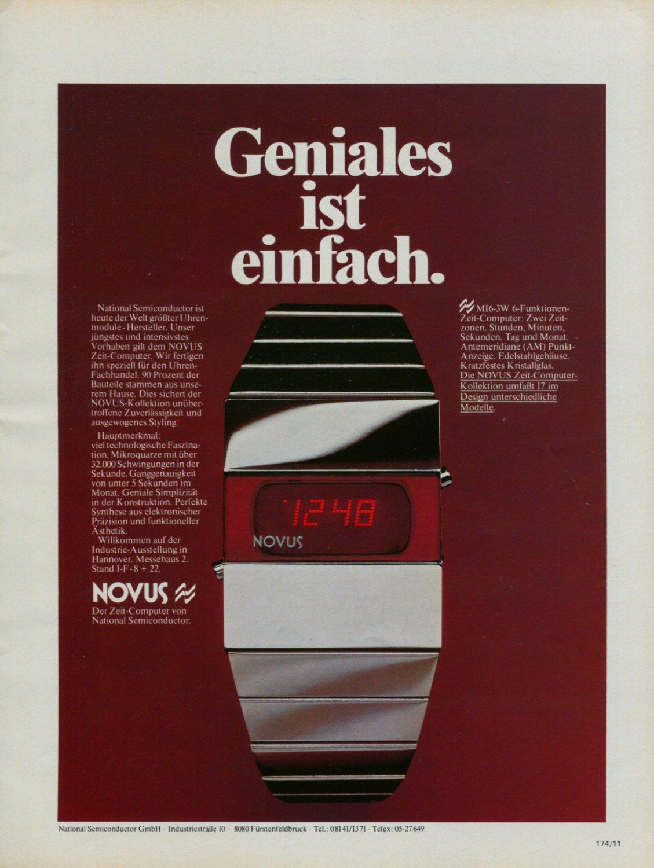 1976 Novus Watch Company National Semiconductor GmbH 1976 Swiss Ad Suisse Advert Horlogerie Horology