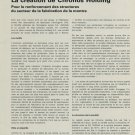 1967 La Creation de Chronos Holding S.A. 1967 Swiss Magazine Article Suisse Horlogerie Horology Cyma
