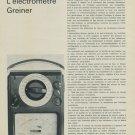 L'Electrometre Greiner 1967 Swiss Magazine Article Suisse Horlogerie Horology