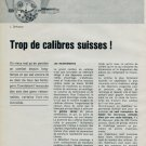 1963 Defossez Trop de Calibres Suisses 1963 Swiss Magazine Article Horlogerie Horology