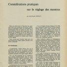1958 Considerations Pratiques sur le Reglage des Montres Swiss Magazine Article Horlogerie Horology