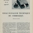 1953 Essai D'Analyse Technique du Vigrograf 1953 Swiss Magazine Article by R P Guye Horlogerie