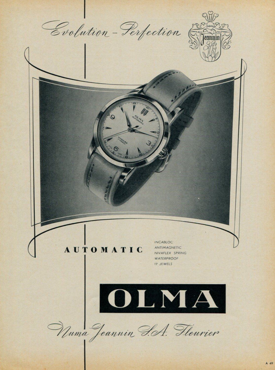 1955 Olma Watch Company Switzerland Vintage 1955 Swiss Ad Suisse Advert Numa Jeannin