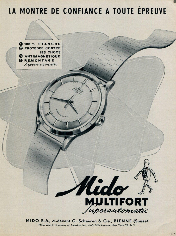 1953 Mido Watch Company Switzerland Mido Multifort Advert 1953 Swiss Ad Suisse Advert (French Text)