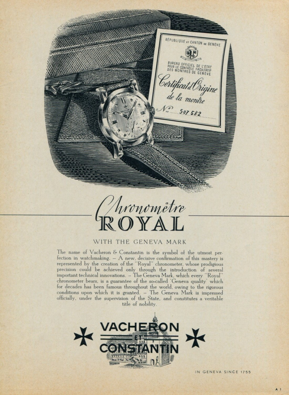 1954 Vacheron & Constantin Watch Company Switzerland Royal 1954 Swiss Ad Suisse Advert Horology