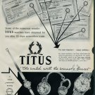 1958 Titus Watch Company Lap Heng Co. Vintage 1958 Swiss Ad Suisse Advert Switzerland Horology