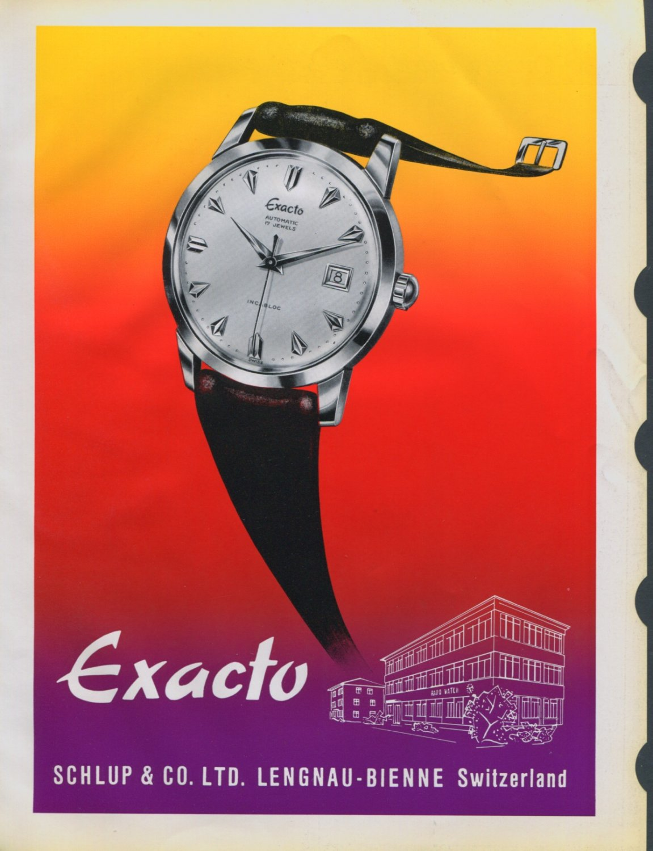 1958 Exacto Watch Company Schlup & Co. Switzerland Vintage 1958 Swiss Ad Suisse Advert Horology
