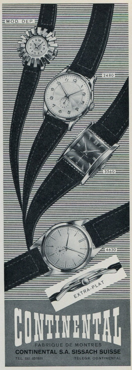 1957 Continental Watch Company Sissach Switzerland Vintage 1957 Swiss Ad Suisse Advert