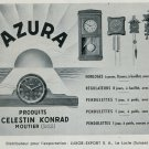 1947 Azura Clock Company Luxor Export Moutier Switzerland Vintage 1947 Swiss Ad Suisse Advert
