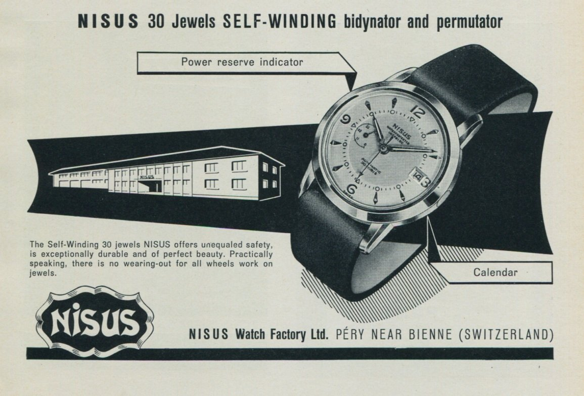 1957 Nisus Watch Company Switzerland Vintage 1957 Swiss Ad Suisse Advert Horology