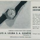 1957 Louis A. Leuba Watch Company Switzerland L A Leuba Vintage 1957 Swiss Ad Suisse Advert