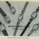 1957 Neuchatel Watch Company Switzerland Vintage 1957 Swiss Ad Suisse Advert