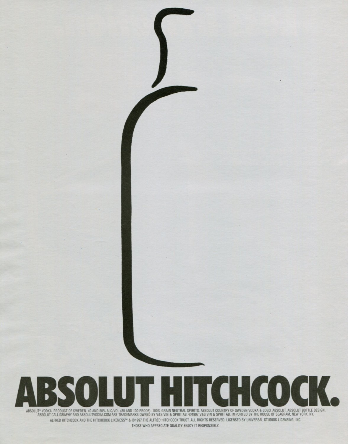Alfred Hitchcock Absolut Hitchcock Ad Absolut Vodka Advertisement Advert