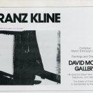 1975 Franz Kline Vintage 1975 Art Exhibition Ad Advert David McKee Gallery NY Advertisement