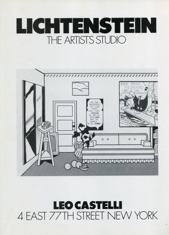 1974 Lichtenstein The Artist's Studio Vintage 1974 Art Ad Advert Leo Castelli Gallery NY
