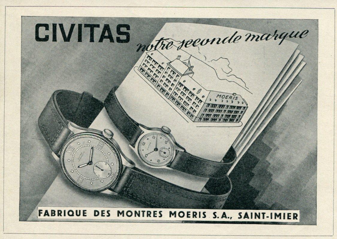 1946 Civitas Watch Company Moeris SA Switzerland Vintage 1946 Swiss Ad Suisse Advert #2