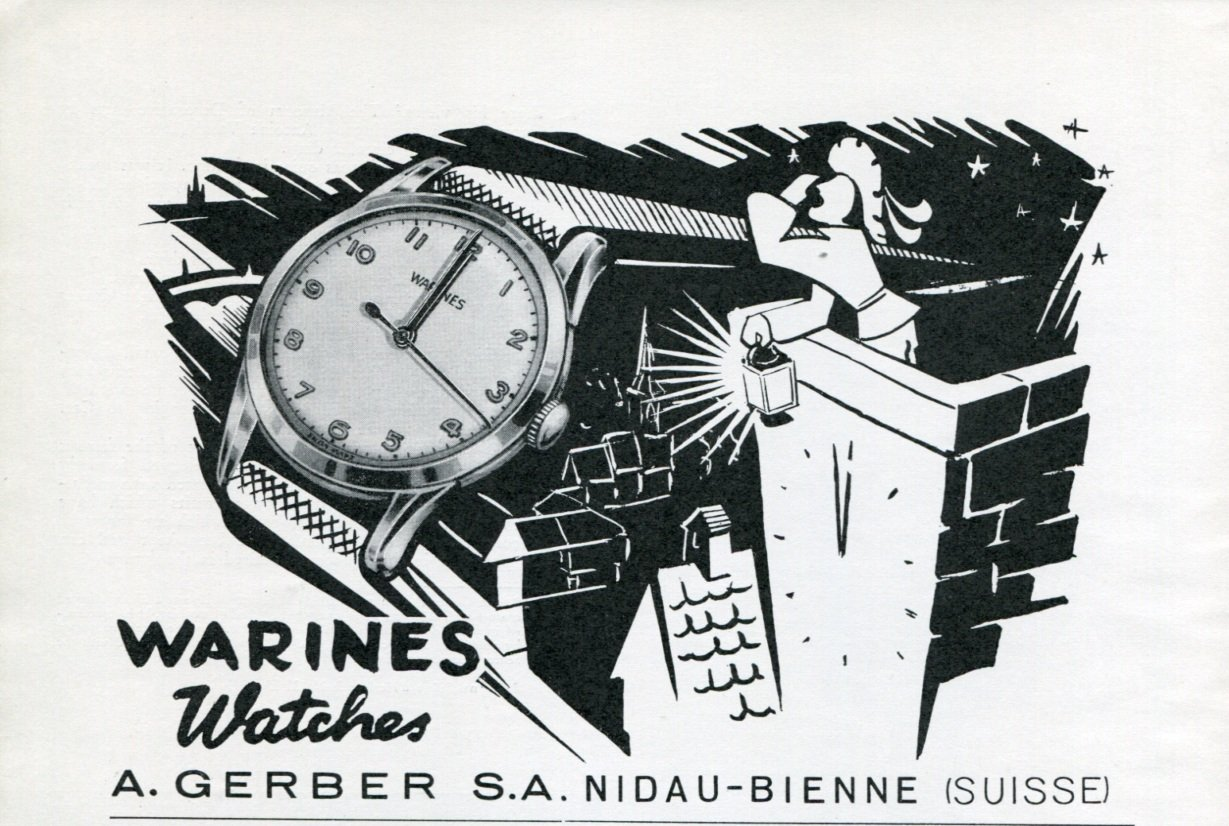 1950 Warines Watch Company A. Gerber S.A. Switzerland Vintage 1950 Swiss Ad Suisse Advert