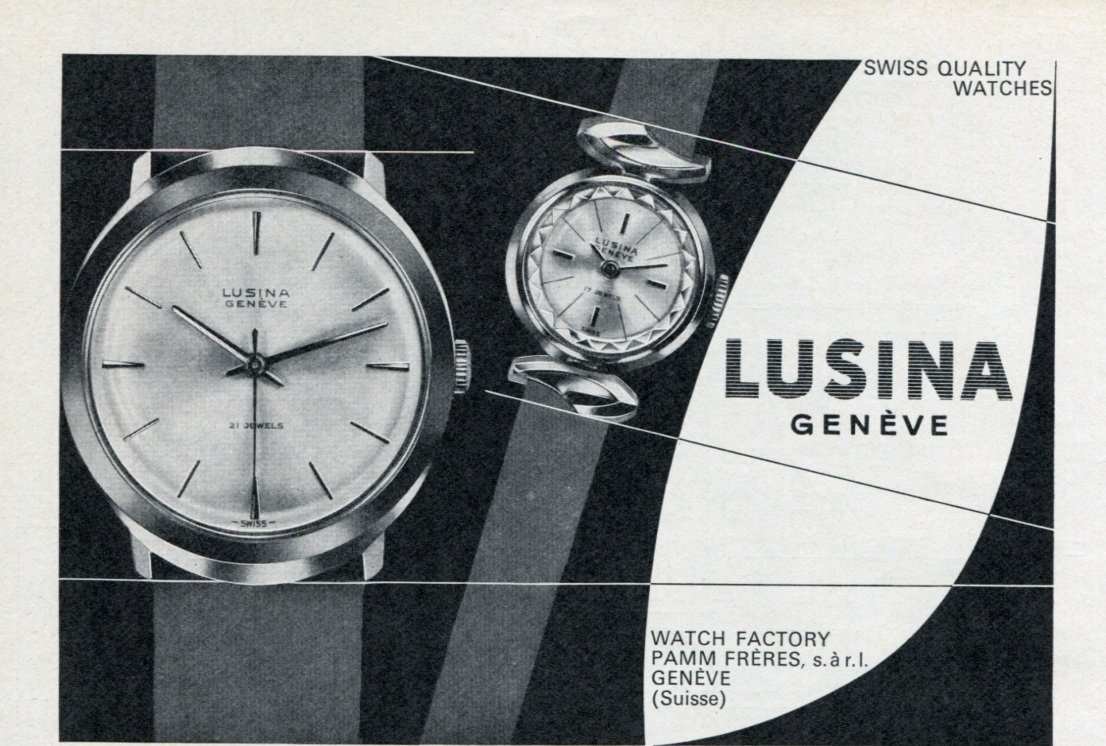 1965 Lusina Watch Company Pamm Freres Switzerland Vintage 1965 Swiss Ad Suisse Advert