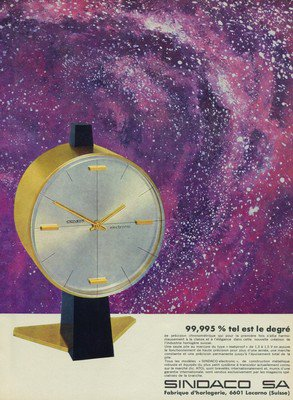 Sindaco Clock Company Vintage 1965 Swiss Ad Suisse Advert Switzerland