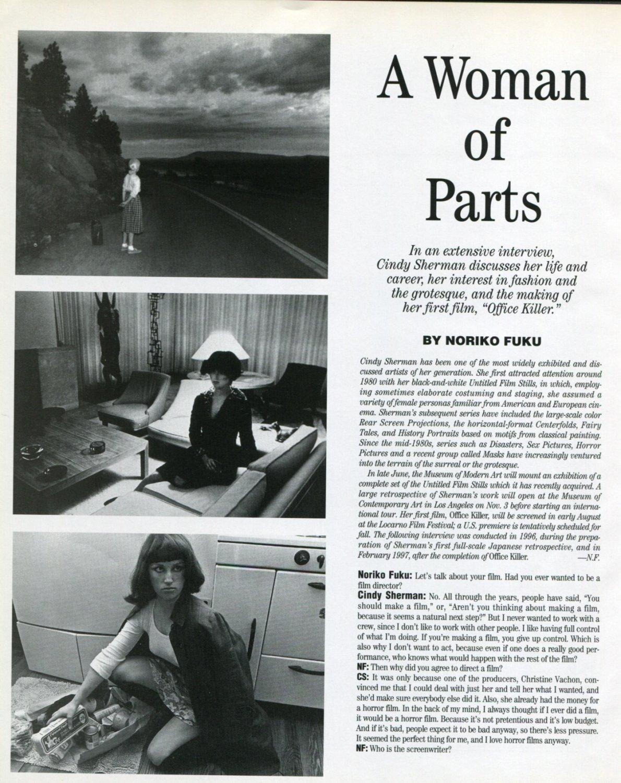 Cindy Sherman A Woman of Parts Interview by Noriko Fuku 1997 Magazine Article