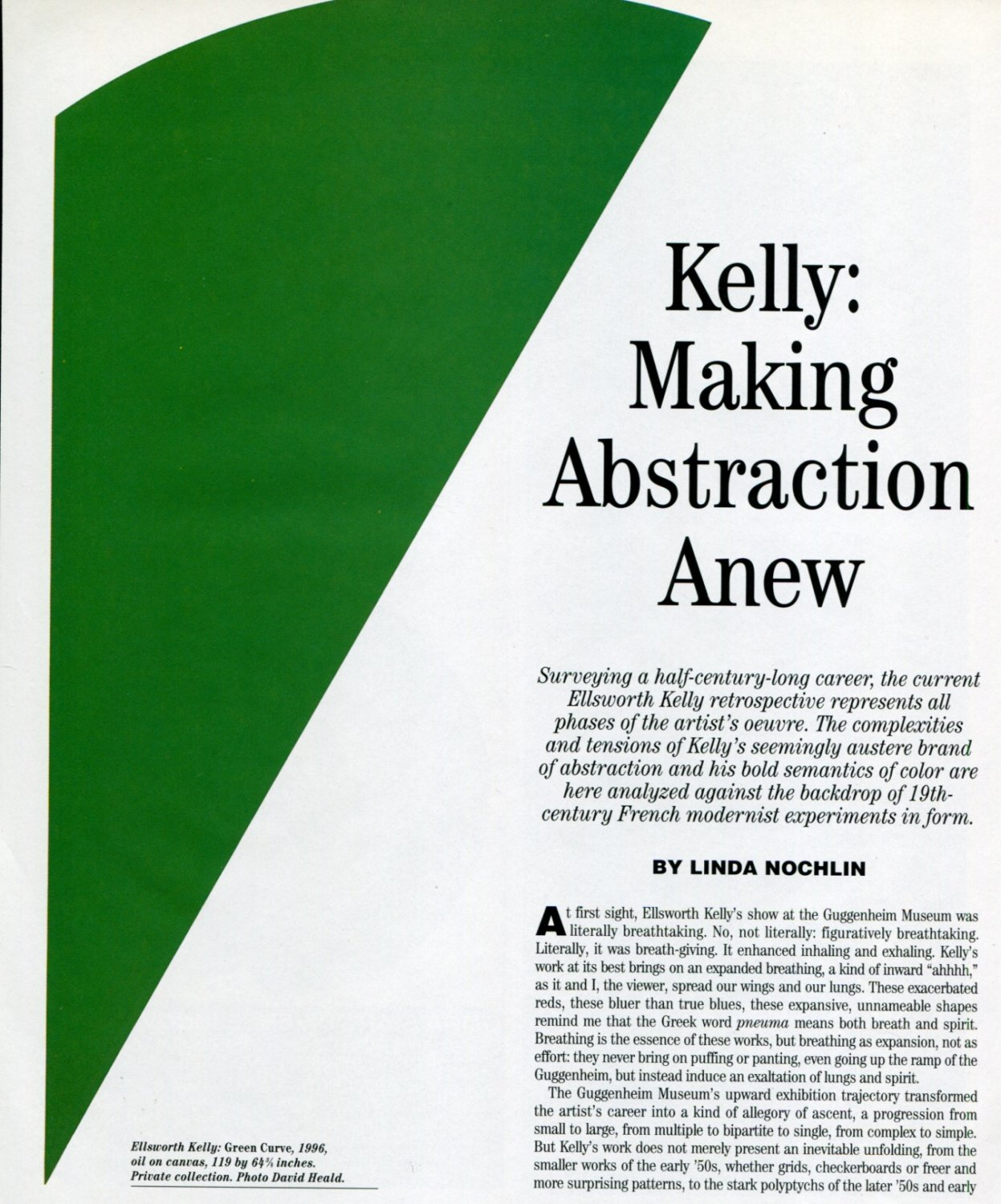 Ellsworth Kelly Making Abstraction Anew 1997 Magazine Article