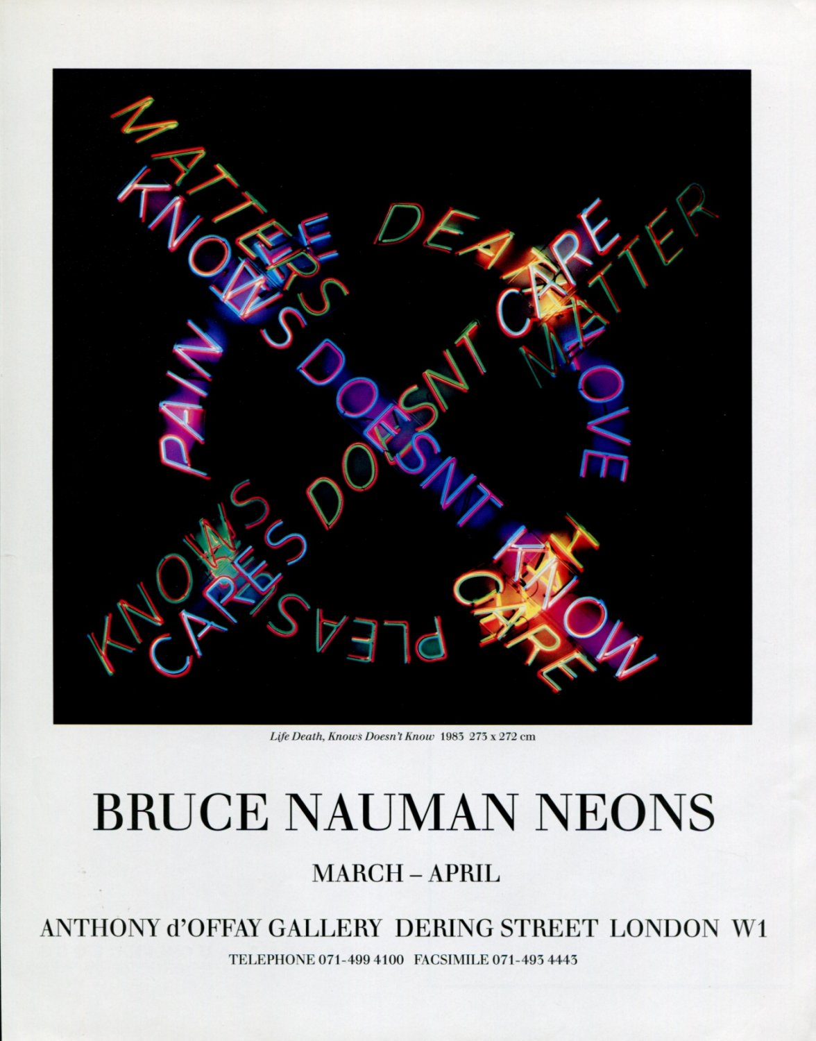 Bruce Nauman Neons 1992 Art Exhibition Ad Advert Life Death, Knows Doesn't Know