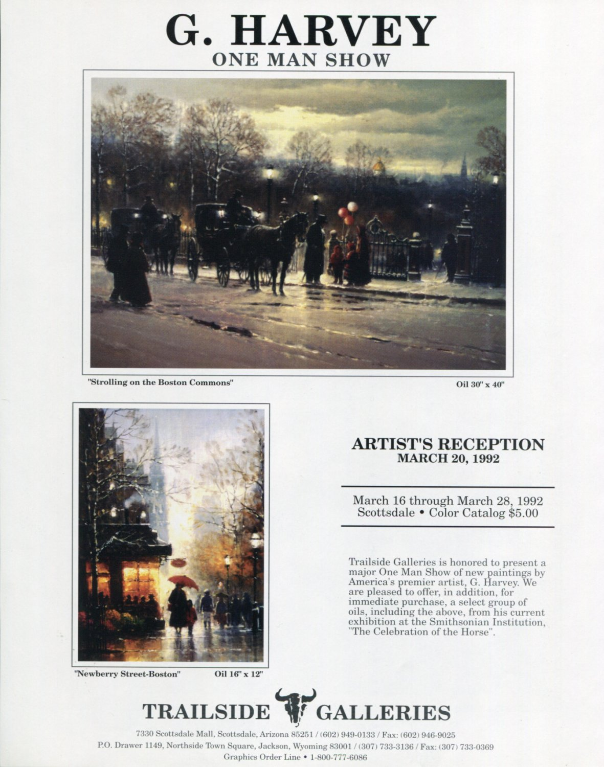 G. Harvey 1992 Art Exhibition Ad Advert Strolling on the Boston Commons