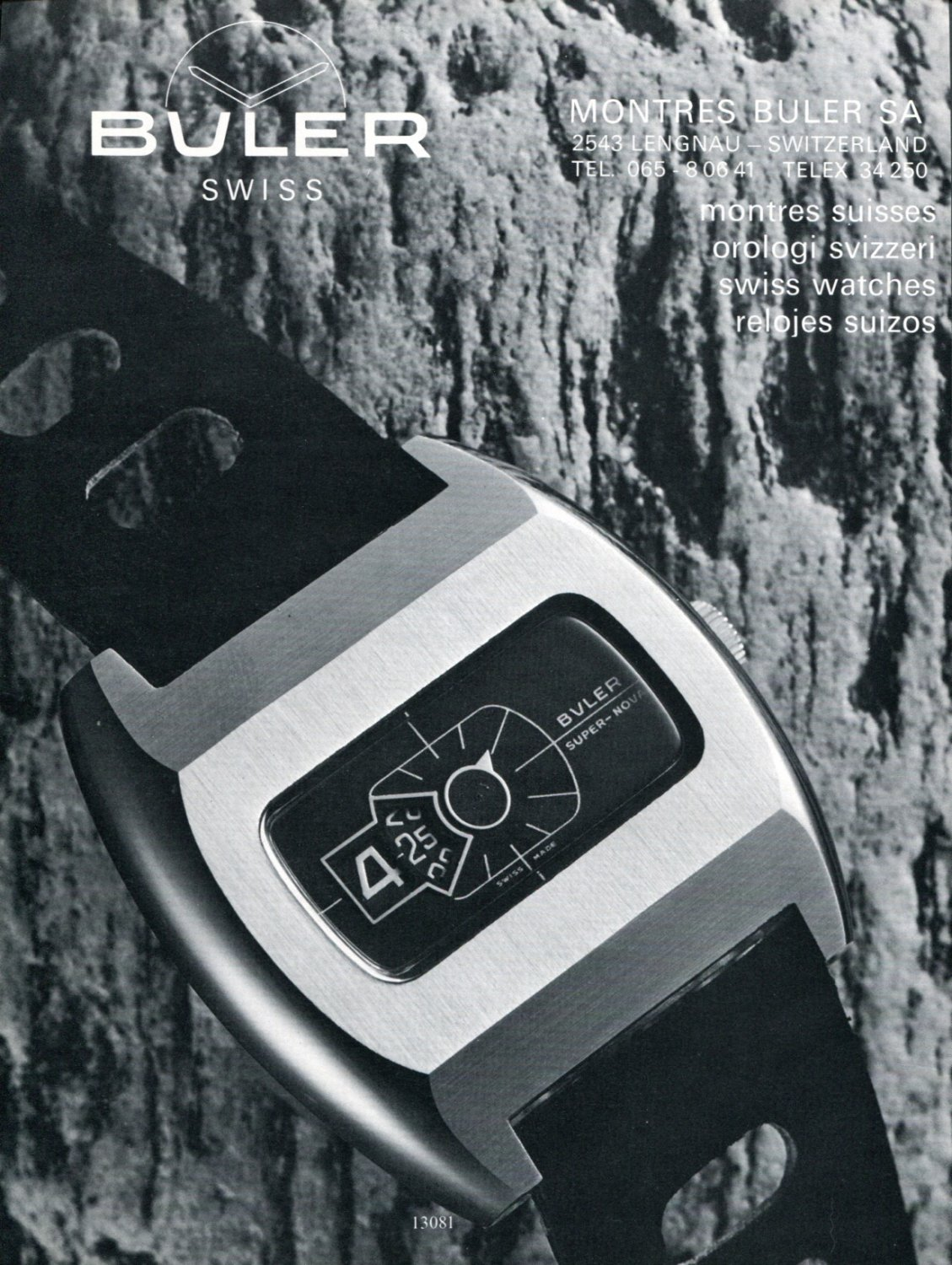 1972 Buler Watch Company Montres Buler SA Switzerland 1972 Swiss Ad Suisse Advert Horology
