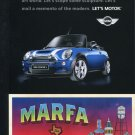 Mini Cooper Marfa TX Texas Ad Advert Postcard BMW Modernism is Big in Texas