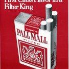 1971 Pall Mall Filter King Cigarettes Advert Vintage 1971 Magazine Ad