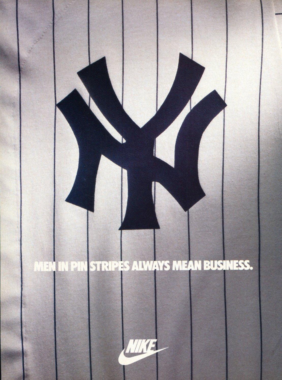 1986 Nike New York Yankees 1986 Magazine Ad Advert Men in Pinstripes Always Mean Business
