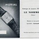 1952 Murial Watch Company Le Noirmont Switzerland Vintage 1952 Swiss Ad Suisse Advert Schweiz