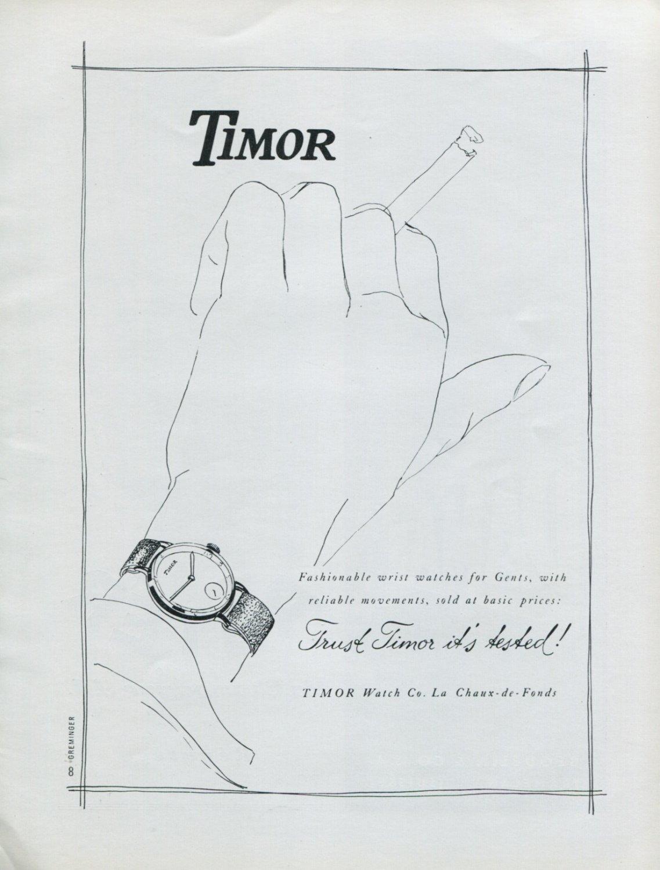 1947 Timor Watch Company La Chaux-de-Fonds Switzerland Vintage 1947 Swiss Ad Advert Suisse Schweiz