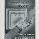 1947 Invicta Watch Company Invicta Quadramatic Ad Advert 1947 Swiss Ad Suisse Schweiz Suiza