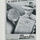 1946 Mondia Watch Company Switzerland Vintage 1946 Swiss Ad Advert Suisse Schweiz Suiza Paul Vermot