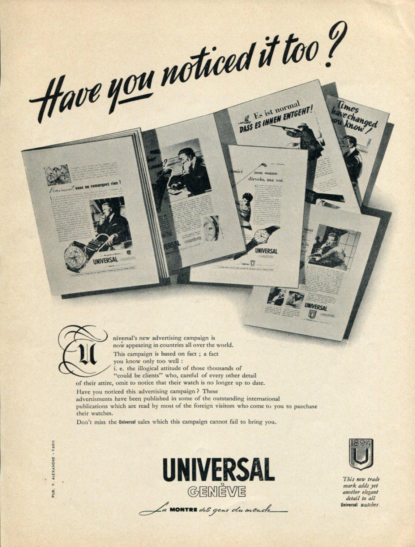 1952 Universal Watch Company Universal Geneve Switzerland 1952 Swiss Ad Advert Suisse Suiza