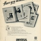 1952 Universal Watch Company Universal Geneve Switzerland 1952 Swiss Ad Advert Suisse Suiza