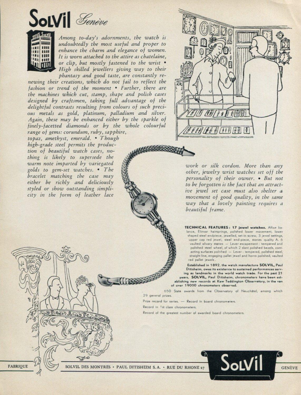 1952 Solvil Watch Company Paul Ditisheim SA Switzerland Vintage 1952 Swiss Ad Advert Suisse Schweiz