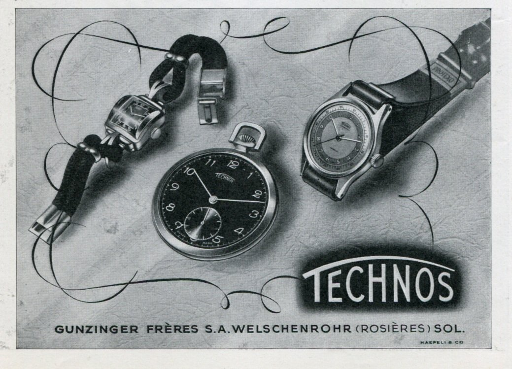 1946 Technos Watch Company Gunzinger Freres SA Switzerland Vintage 1946 Swiss Ad Advert Suisse