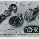 1946 Technos Watch Company Gunzinger Freres SA Switzerland Vintage 1946 Swiss Ad Advert Suisse