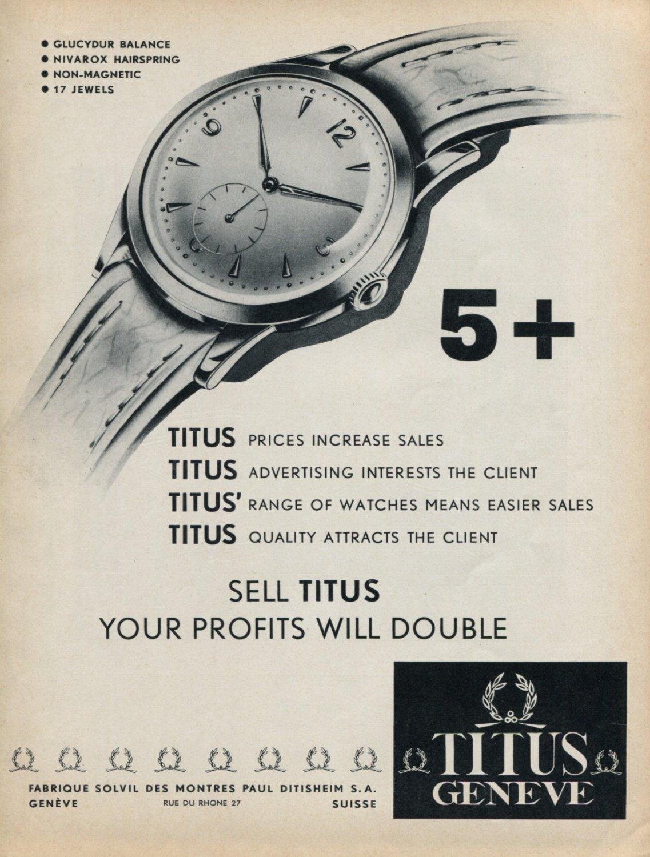 1953 Titus Watch Company Paul Ditisheim SA Switzerland Vintage 1953 Swiss Ad Advert Suisse Schweiz