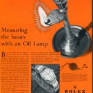 1953 Rolex Watch Company Measuring Hours with Oil Lamp Vintage 1950s Swiss Print Ad Suisse