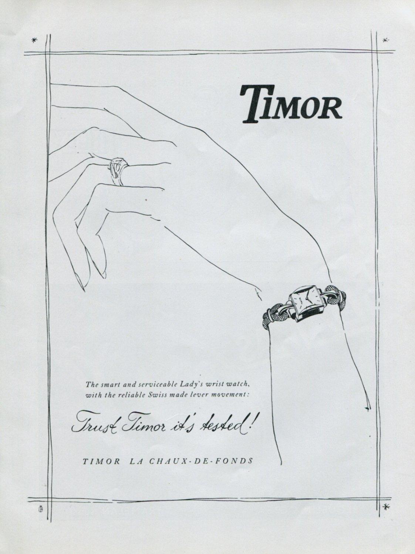 1948 Timor Watch Company La Chaux-de-Fonds Switzerland Vintage 1948 Swiss Ad Advert Suisse Suiza