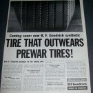Original 1945 B.F. Goodrich Tire That Outwears PreWar Tires Vintage 1940s Print Ad Magazine Advert