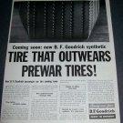 Original 1945 B.F. Goodrich Tire That Outwears PreWar Tires Vintage 1940s Print Ad Magazine Advert