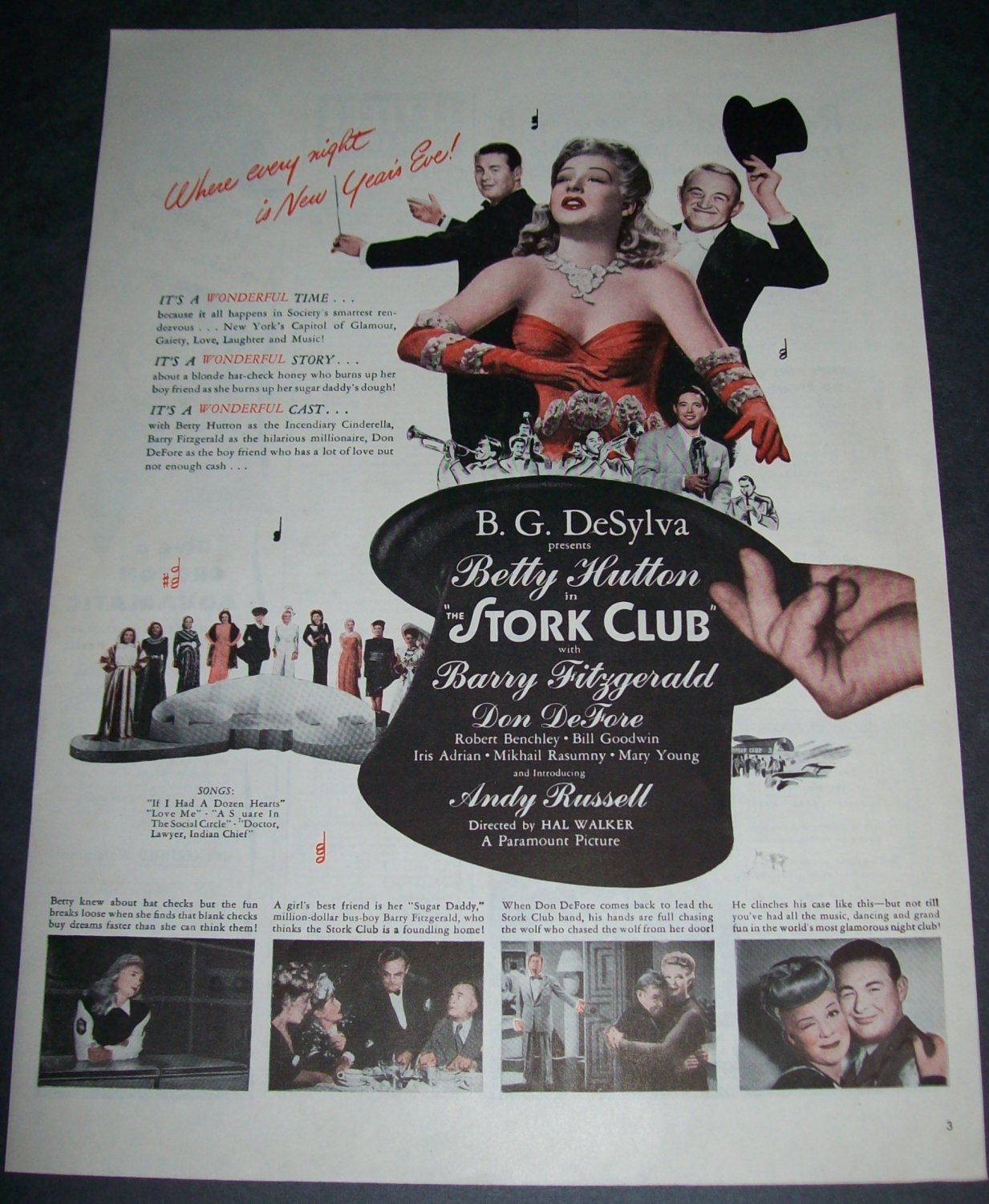 Vintage 1945 Advertisement Betty Hutton The Stork Club Print Ad Original 1940s Magazine Ad Advert