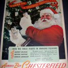 Original 1945 Santa Chesterfield Cigarettes Christmas Vintage 1940's Holiday Advert  Liggett & Myers
