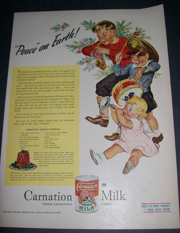 Original 1945 Carnation Milk Peace on Earth Christmas Ad Vintage 1940's Magazine Advert