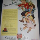 Original 1945 Carnation Milk Peace on Earth Christmas Ad Vintage 1940's Magazine Advert