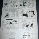 Original 1945 Santa Statler Hotels Christmas Ad Santa Steals Bed Vintage 1940's Ad Magazine Advert